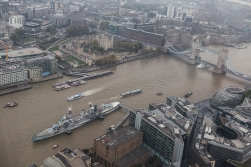 The view to the east, Tower Bridge and HMS Belfast