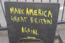 British humour at its very best - and if he ever saw it, a boot in the balls of Donald Trump