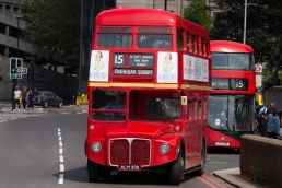 A rolling museum, the classic Routemaster bus still runs between The Tower and Trafalgar Square