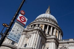 Tourist spots; St Paul's cathedral, and of course you get there by bus