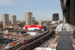 The London underground can also be seen over ground. This is the Hammersmith and City Line between Wood Lane and Latimer Road. The scene of the Grenfell Tower disaster where 72 people lost their lives can be seen in the background.