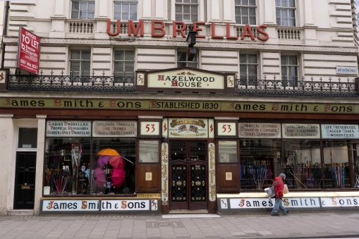 Where else then in London would you find a shop that has been selling nothing but umbrellas since 1830?