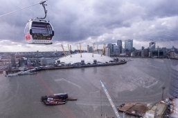 Tourist spots. The Greenwich Cable Car and the O2 arena