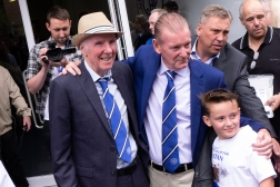 Meeting old heroes. Stan Bowles, with the hat, stands out as the best player in QPR's 135 year history. Here he arrives for a match with his teammate from the 1970ties, Don Shanks.