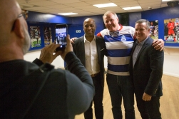 Meeting more old heroes. Our Norwegian friend in the middle is flanked by ex QPR and England players Les Ferdinand and Andy Sinton.