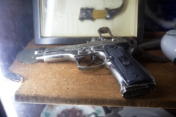 What we had not expected to find in a place of worship (maybe with the exception of the private chapel in Trump Tower, if there is such a place) was a selection of hand guns!