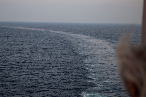 A serious situation! After leaving Colombo we had a Man Over Board alarm. Here the ship is turning, and an orange flare marking the spot where someone allegedly fell into the sea can be seen in the background. In the end we were told it was a false alarm!