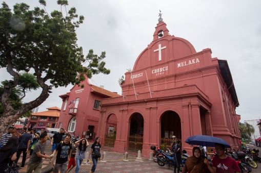 The beautiful red Dutch quarters of downtown Malacca. The church dates back to the mid 18th century!