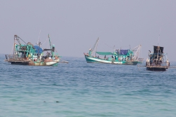 Fishermen from the next door village park their boats at Coconut Beach in between jobs. These are trawlers equipped for squid fishing at night.