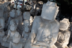 Buddha figures carved in marble is a Myanmar export article. This workshop sends most of their goods to China.
