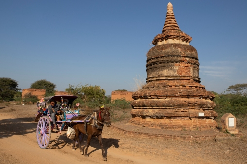 Up until very recently the horse and cart was the way for tourists to travel around Bagan.