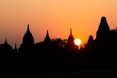 Sunset over the Bagan pagodas.