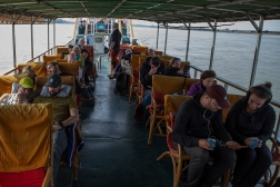 Travelling the Irrawaddy River from Bagan to Mandalay takes 12 hours - from 5 am to 5 pm.