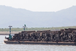 Not a nice sight! A riverboat loaded with timber! Illegal logging is a huge problem in many Asian countries, and Myanmar is no exception!