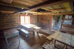 At Lofotmuseum near Kabelvåg, Austvågøya. Interior of a cabin used for the fishermen who took part in the annual Lofoten Winter fisheries. For the men in DHH's family, this was their work and their life for decades.