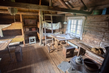 At Lofotmuseum near Kabelvåg, Austvågøya. Interior of a cabin used for the fishermen who took part in the annual Lofoten Winter fisheries.