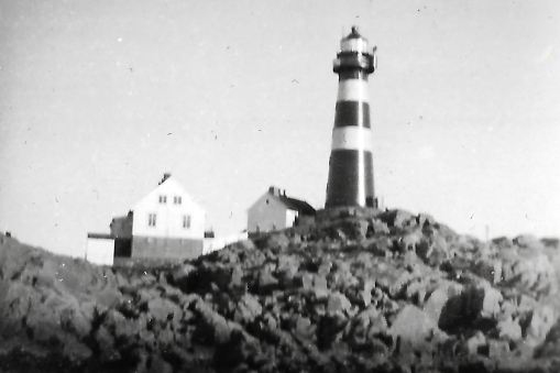 At the island of Skrova. The lighthouse in 1934, lifted from DHH's grandfathers photo album.