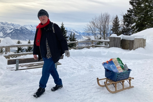 DH going shopping with the groceries on a sledge.