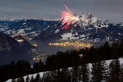 Happy New Year! Fireworks at midnight over the Lake Luzern!